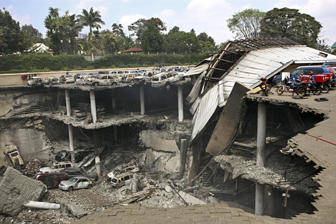 Zřícená část nákupního centra Westgate v Nairobi