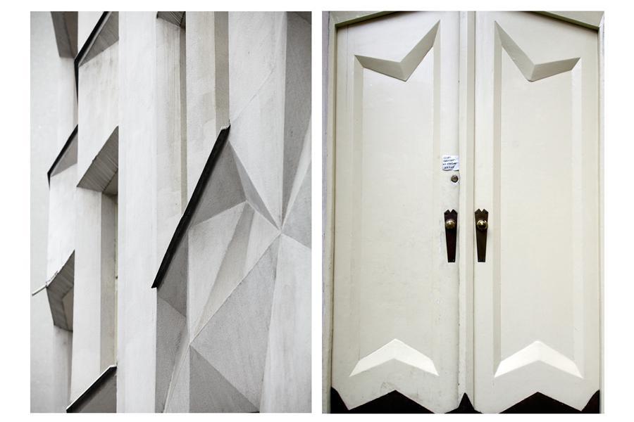 Kubistické detaily domu v Neklanově ulici