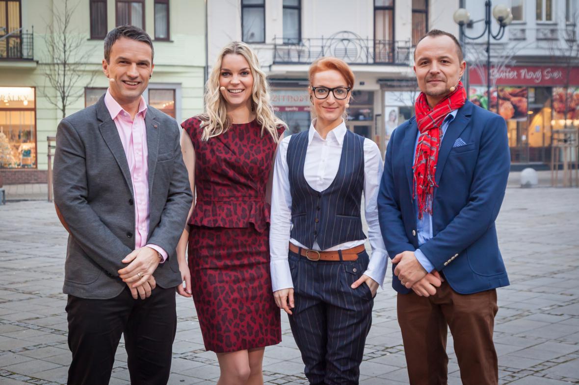 Moderátoři Dobrého rána z Ostravy – Radek Erben, Veronika Poláčková, Tereza Richtrová a Petr Rajchert