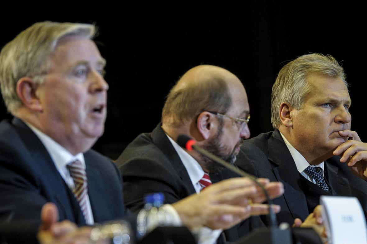 Pat Cox, Martin Schulz a Aleksander Kwaśniewski