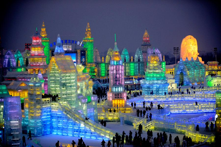 Ledový festival v čínském Harbinu