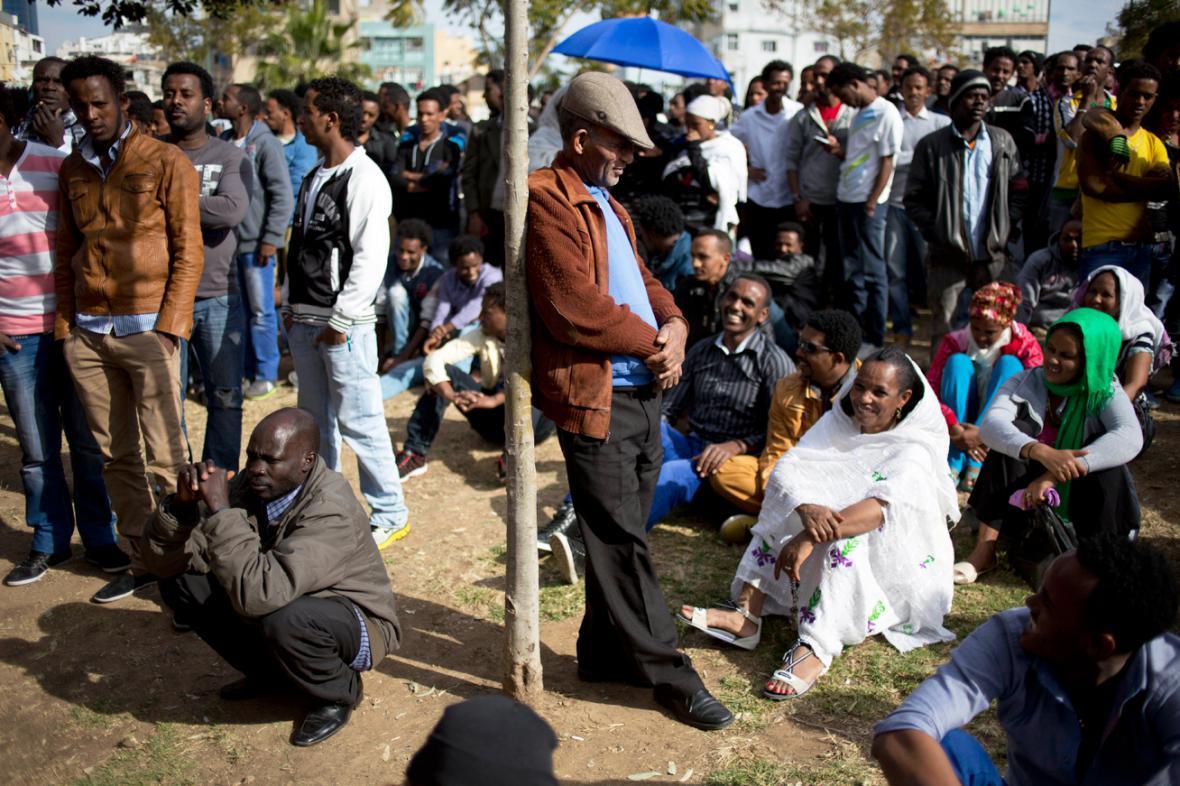 Protest Afričanů v Tel Avivu