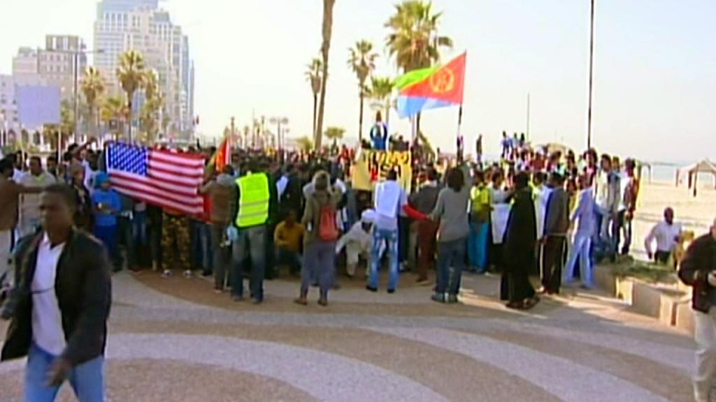 Protest afrických migrantů v Tel Avivu