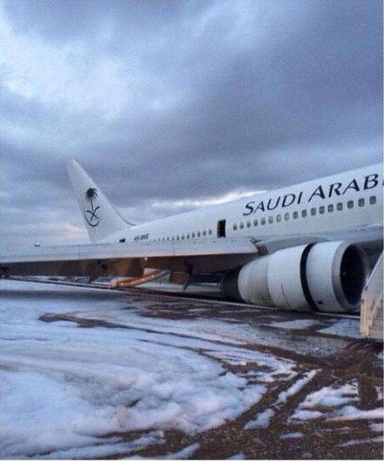 Havarovaný Boeing 767-300 v Saúdské Arábii