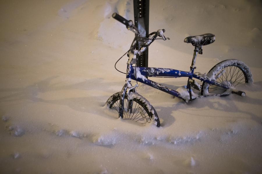 Ulice New Yorku po sněhové bouři
