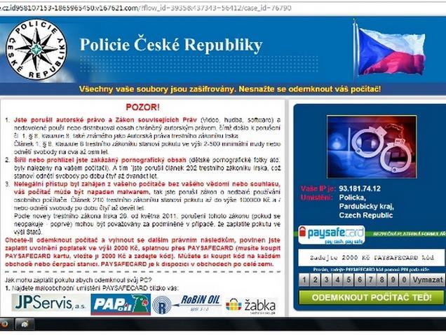 Náhled podvodné webové stránky