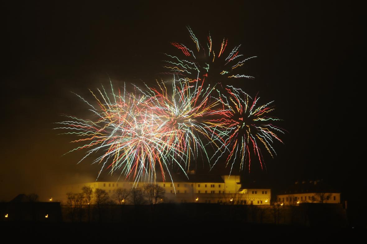 Novoroční ohňostroj v Brně