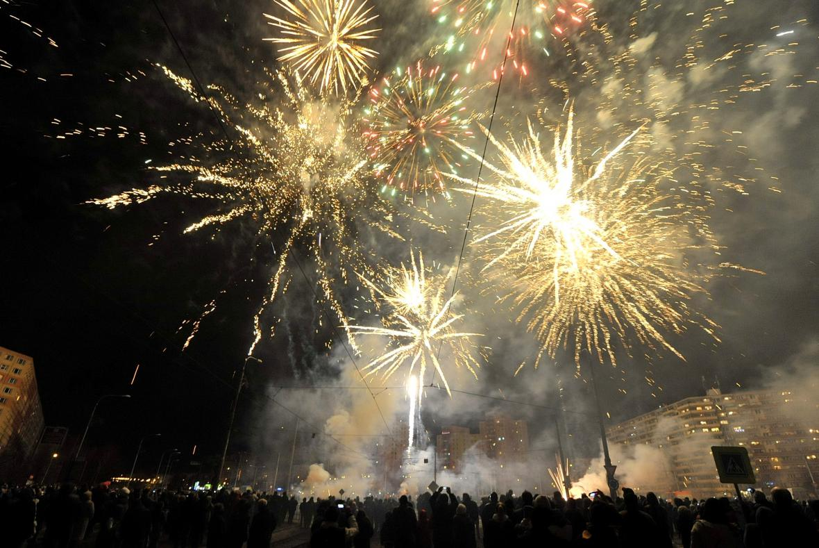 Novoroční ohňostroj v Ostravě