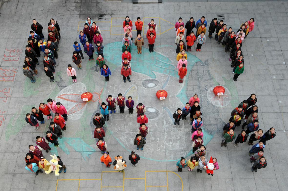 Čínští studenti vítají rok 2014