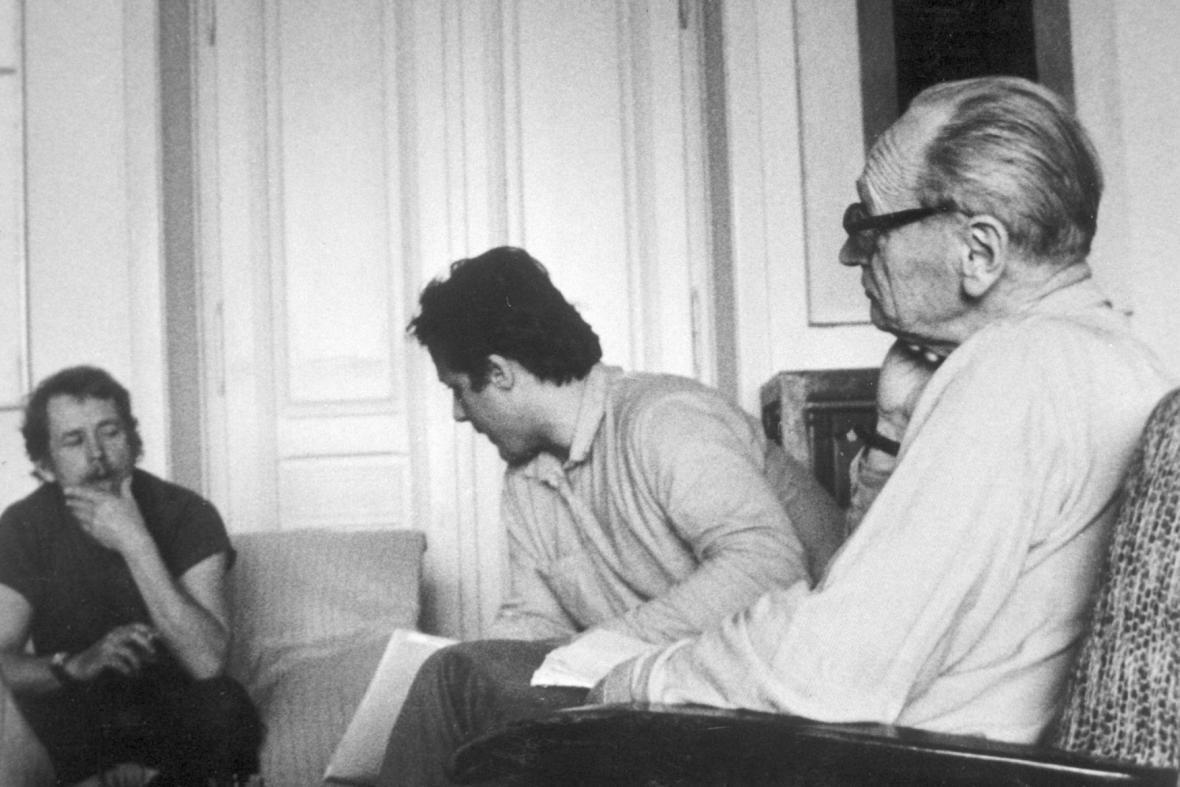 Václav Havel, Petr Uhl a Jiří Hájek (1985)