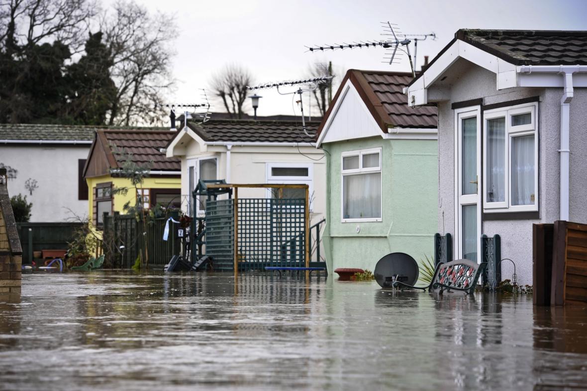 Záplavy v anglickém hrabství Dorset