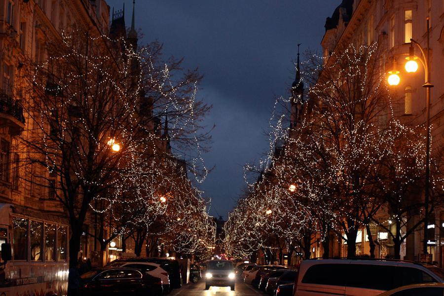 Vánoční výzdoba Pařížské ulice