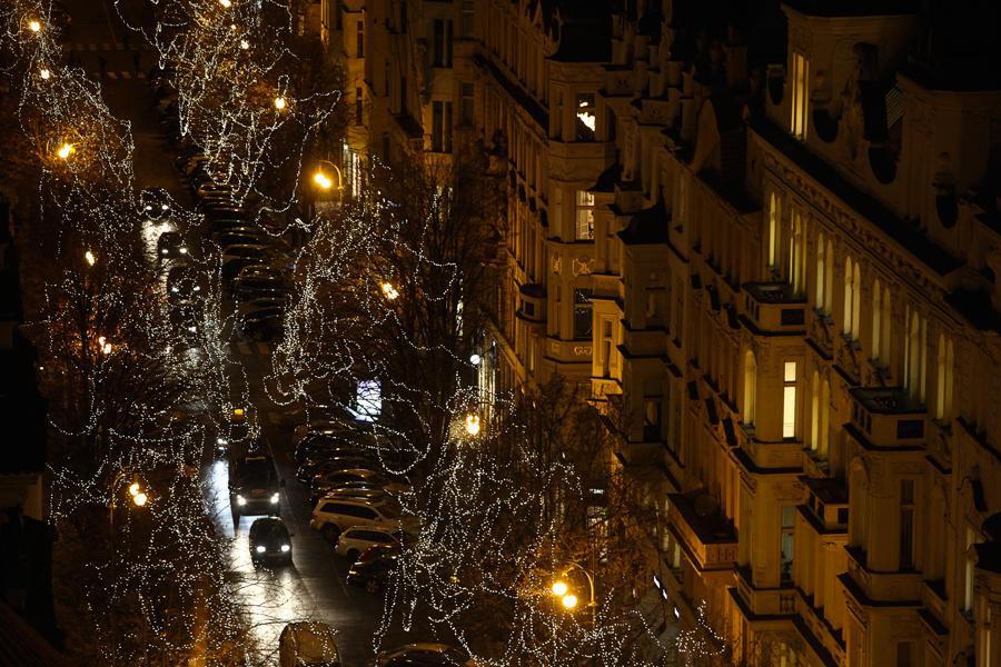 Vánoční výzdoba v ulicích Prahy