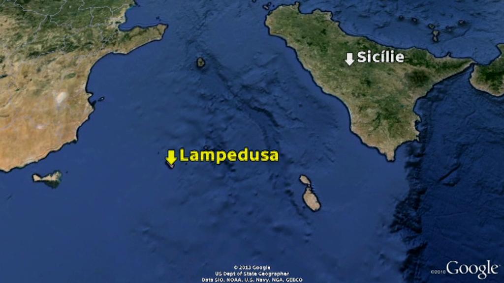Lampedusa na mapě