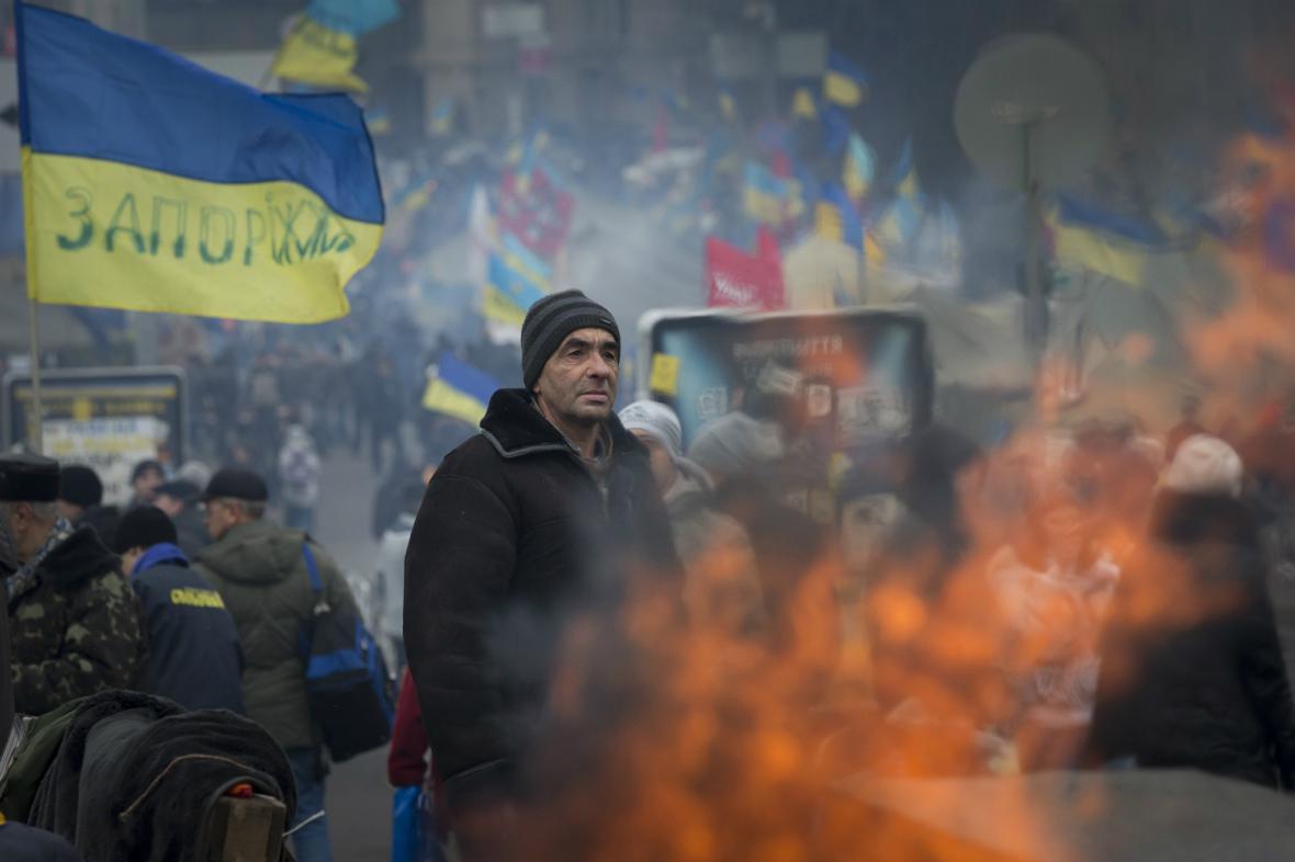 Proevropští demonstranti v Kyjevě