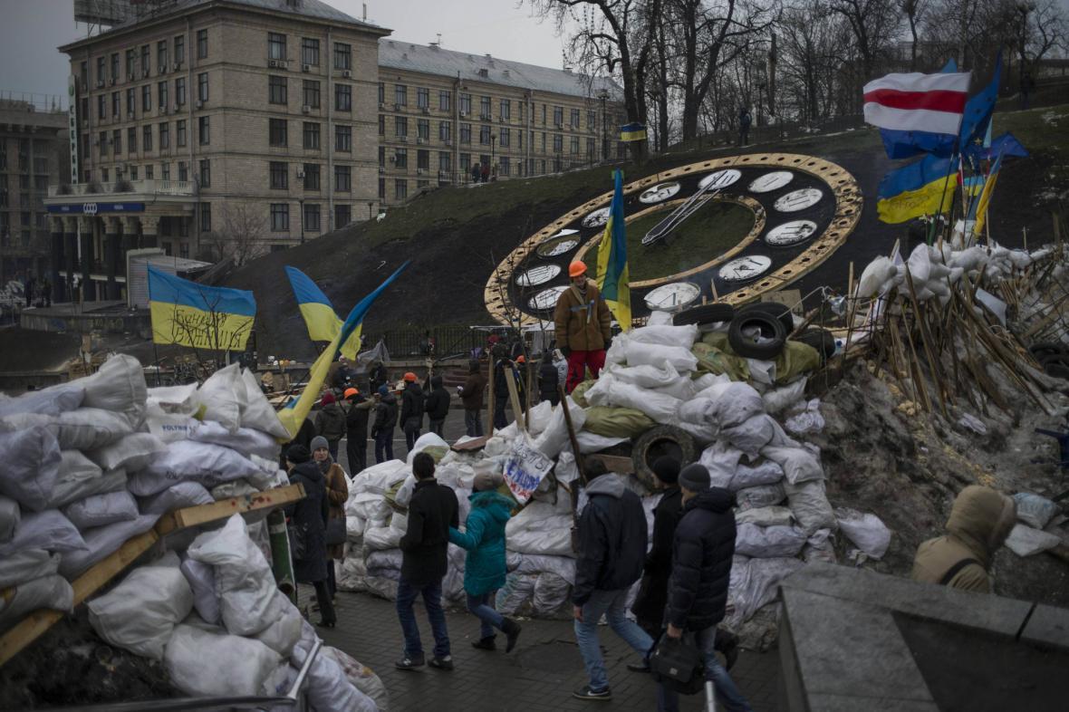 Tábor proevropských aktivistů v Kyjevě