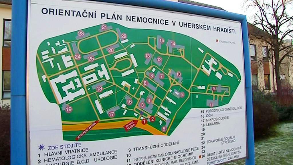 Plán nemocnice v Uherském Hradišti