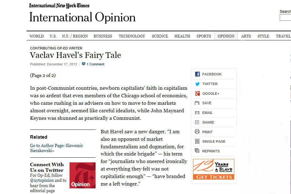 New York Times o osobnosti Václava Havla
