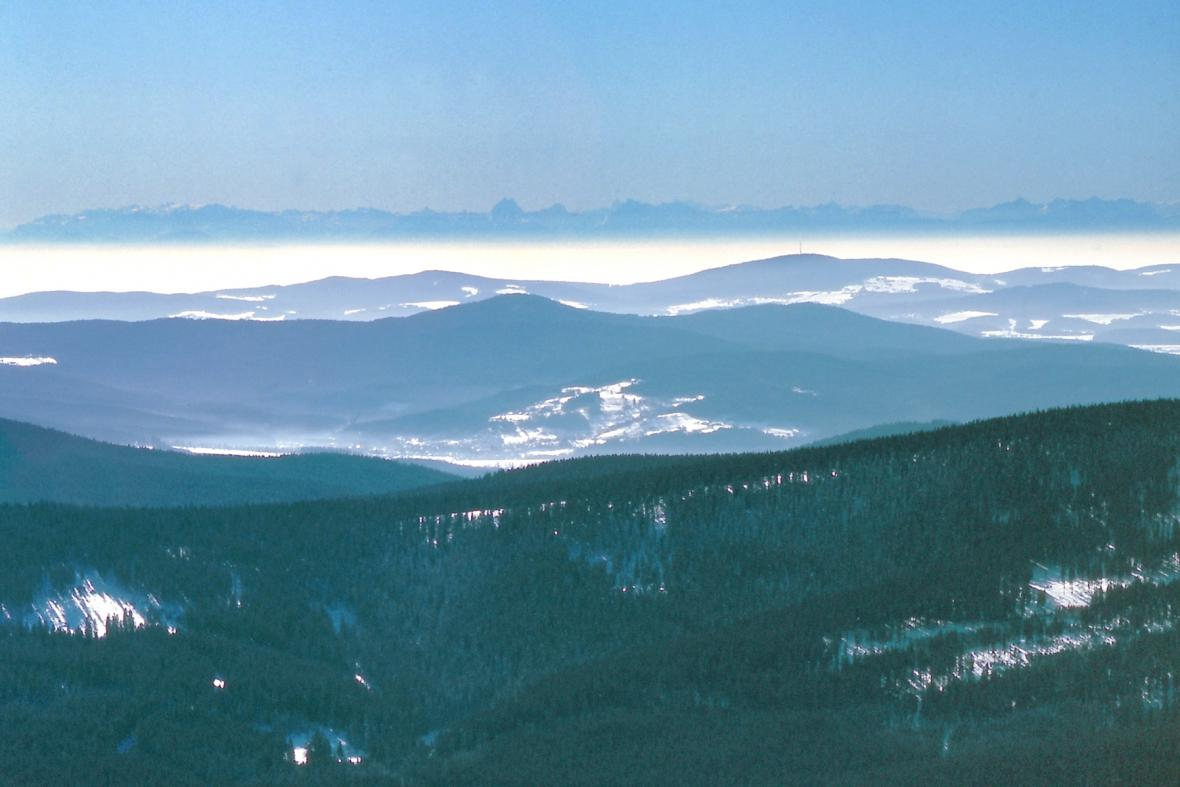 Pohled na Alpy ze Šumavy