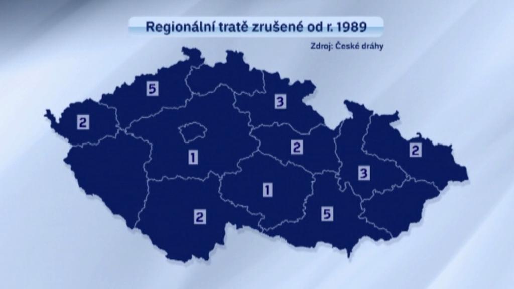 Regionální tratě zrušené od r. 1989