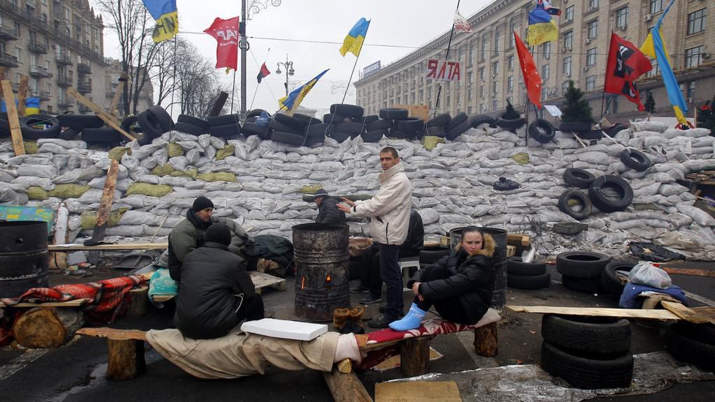Proevropští aktivisté v Kyjevě