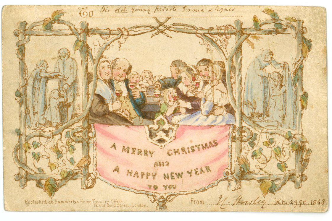 První vánoční pohlednice z roku 1843