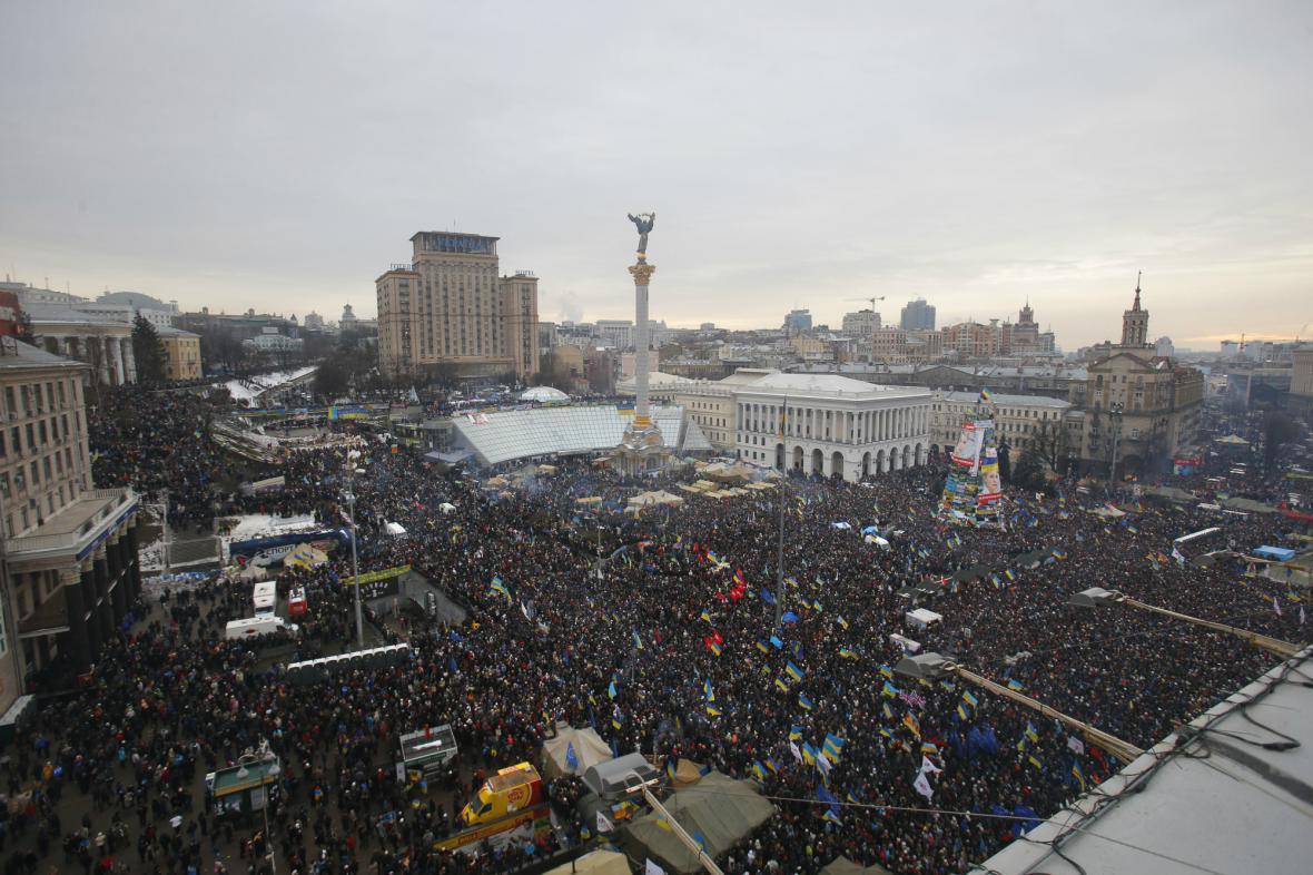 Demonstrace na náměstí Nezávislosti