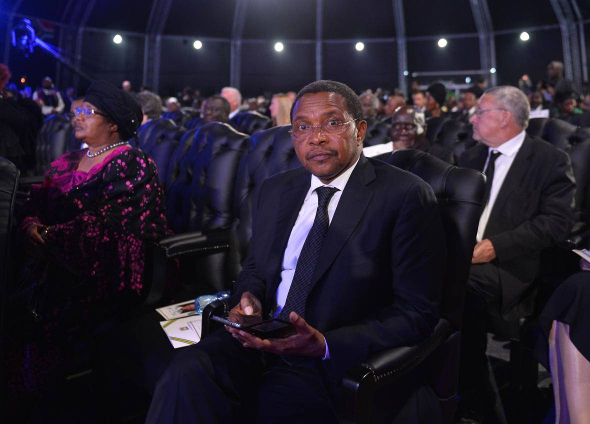 Prezident Tanzanie Jakaya Mrisho Kikwete na pohřbu Nelsona Mandely