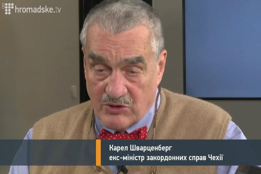 Karel Schwarzenberg při rozhovoru pro ukrajinskou stanici Hromadske.tv