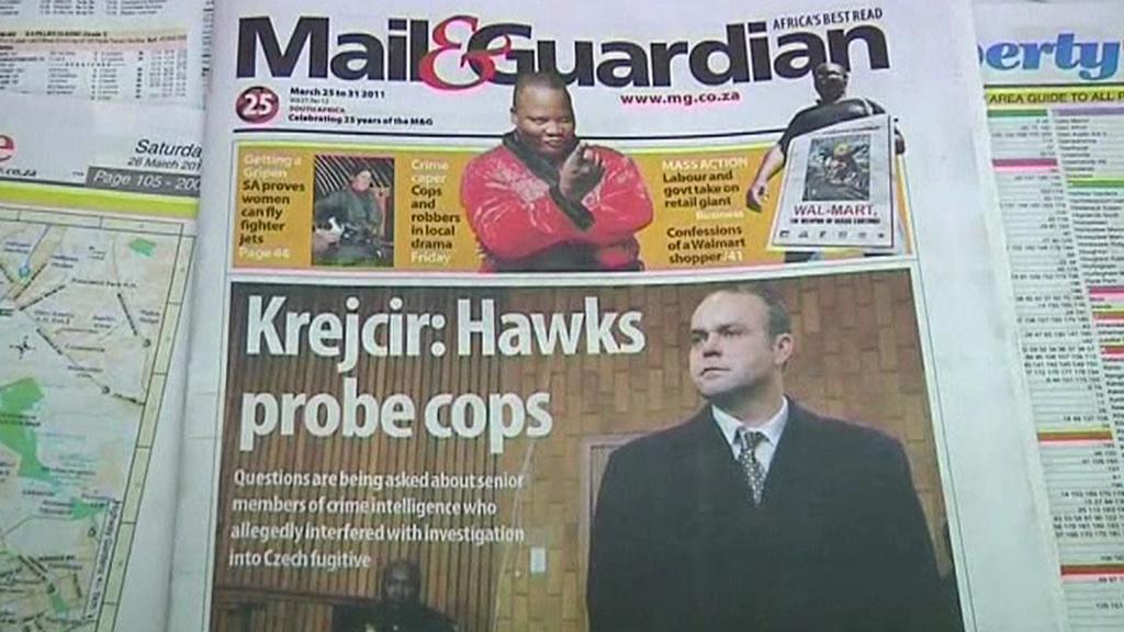 Krejčíř na titulní straně jihoafrického tisku