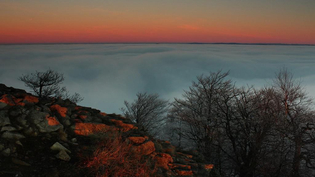 Západ slunce na Klíči v Lužických horách