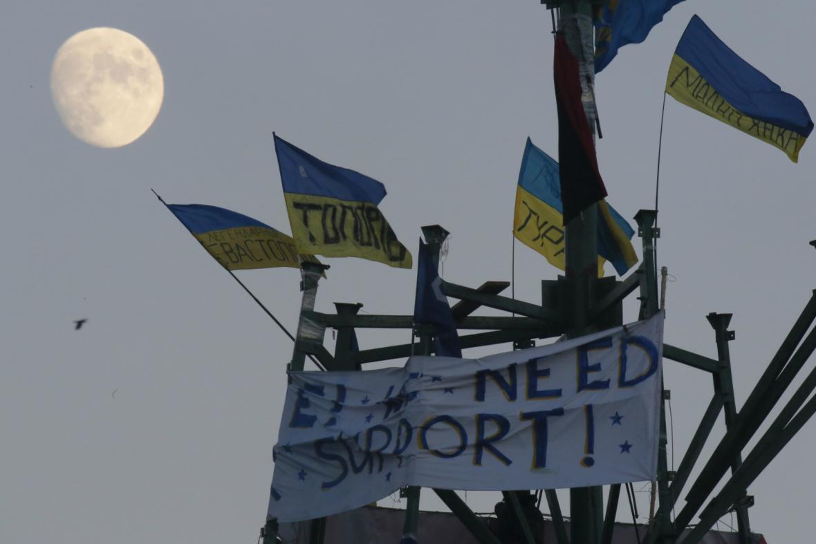 Tábor opozice v centru Kyjeva