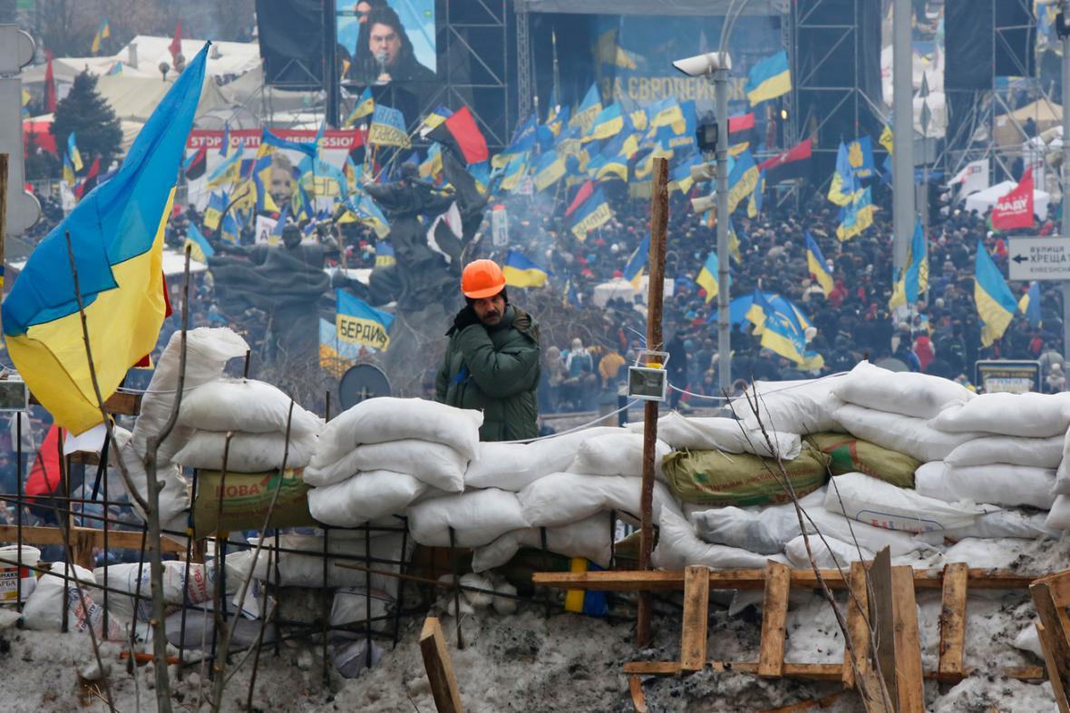 Barikády kyjevských demonstrantů