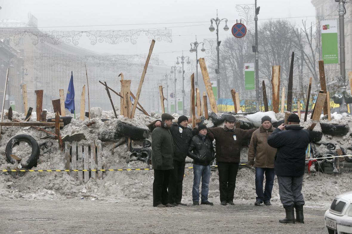 Barikáda v centru Kyjeva