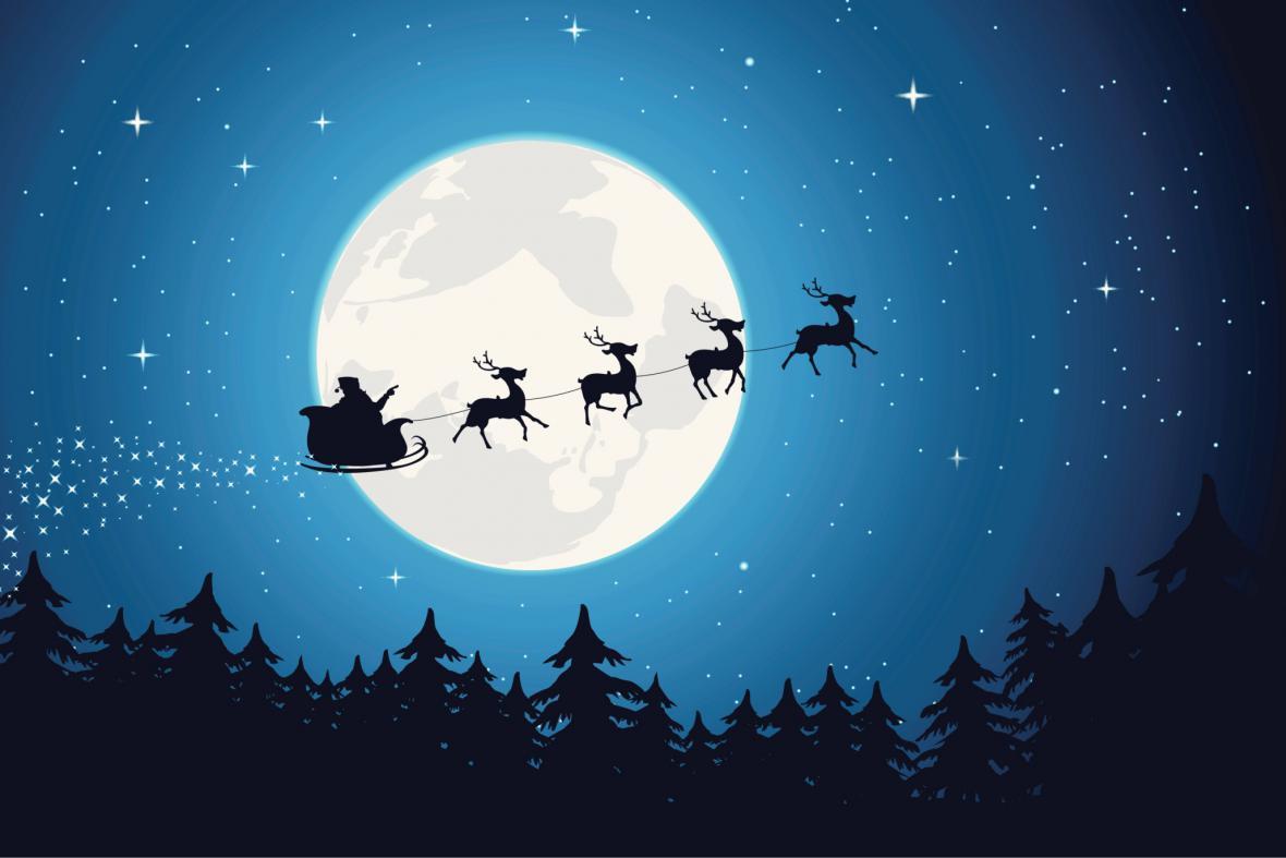Santa Claus se sobím spřežením