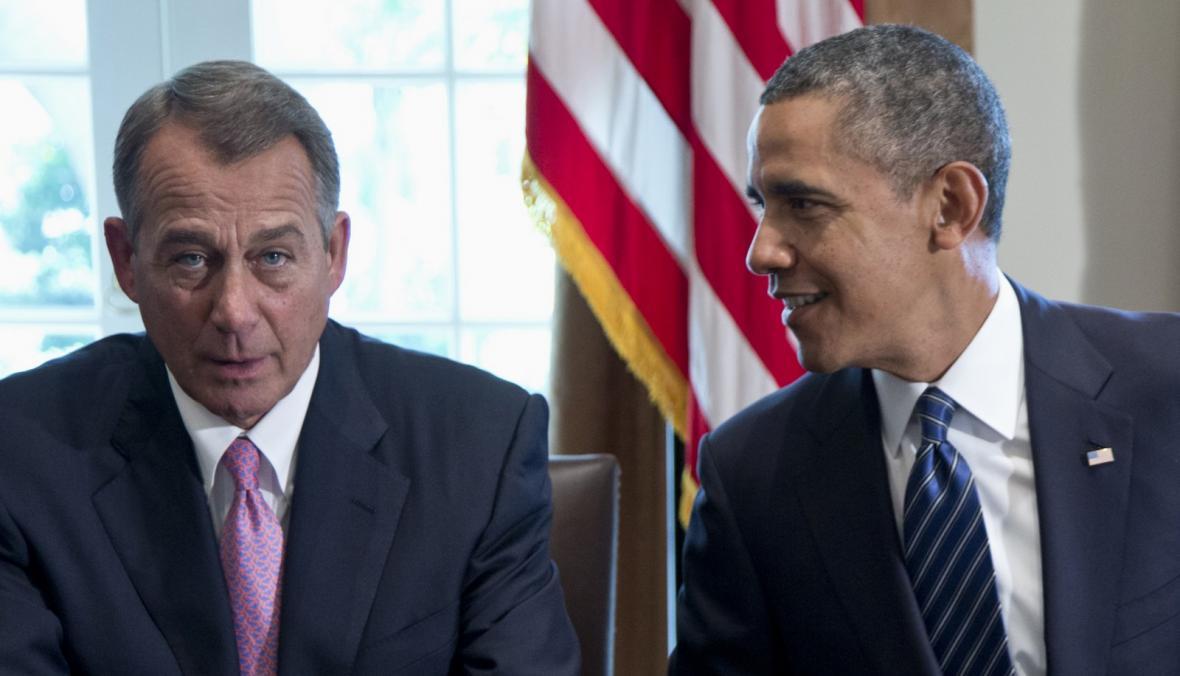 Předseda Sněmovny reprezentantů John Boehner a prezident Obama