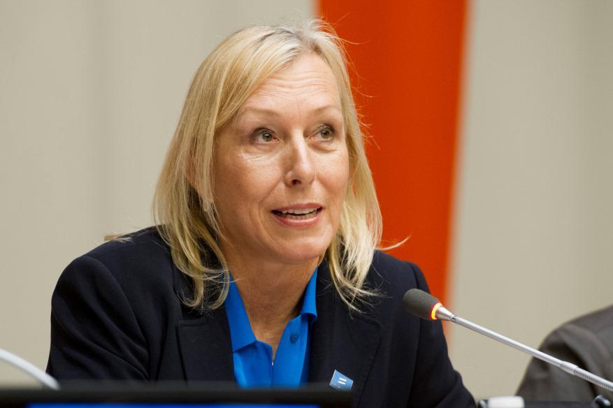 Martina Navrátilová hovoří na akci OSN