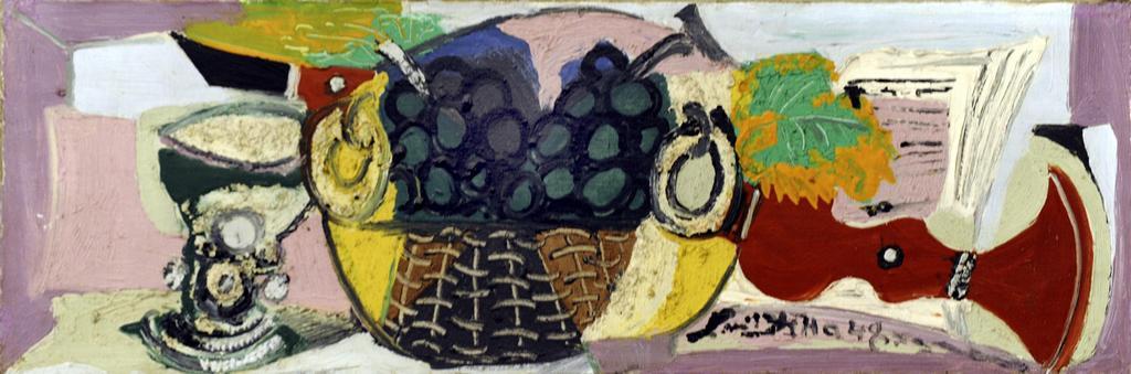 Zátiší s klarinetem a košíkem s ovocem (1948)