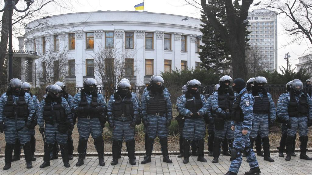 Policie během blokády v Kyjevě