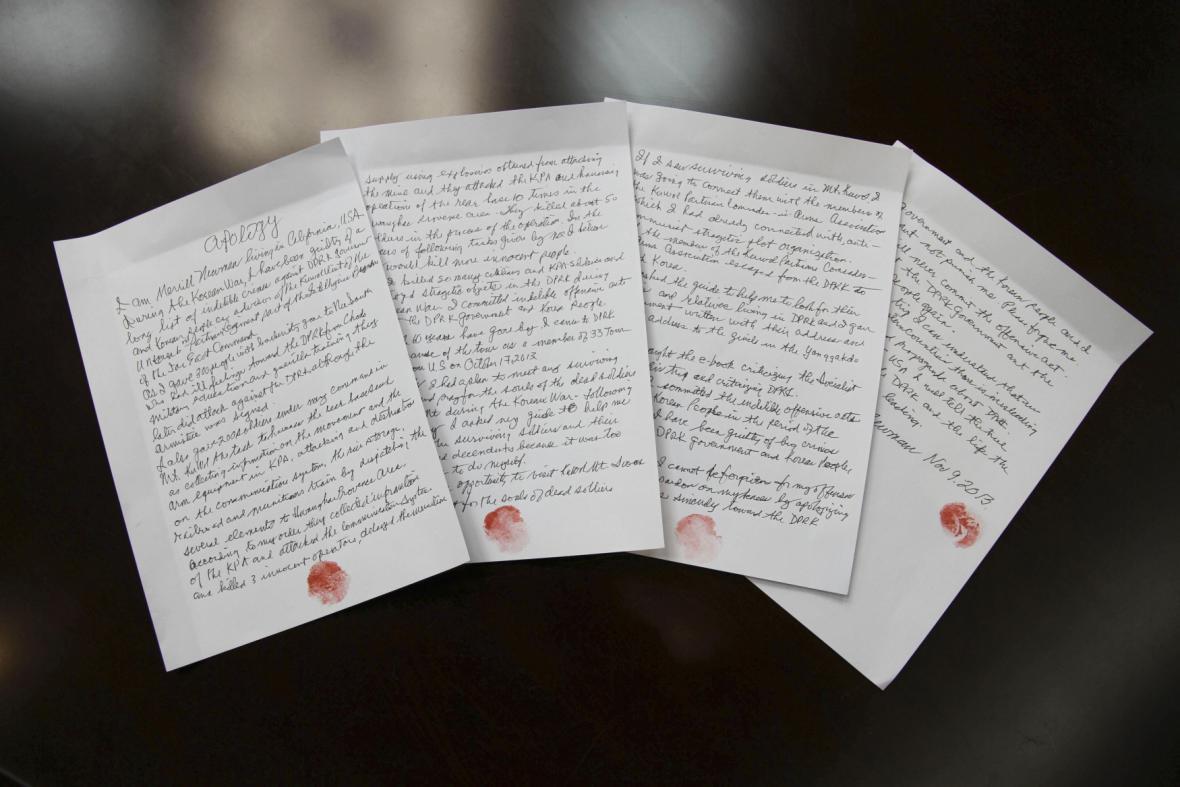 Dopis Merrilla Newmana, který Korea vydává za jeho doznání