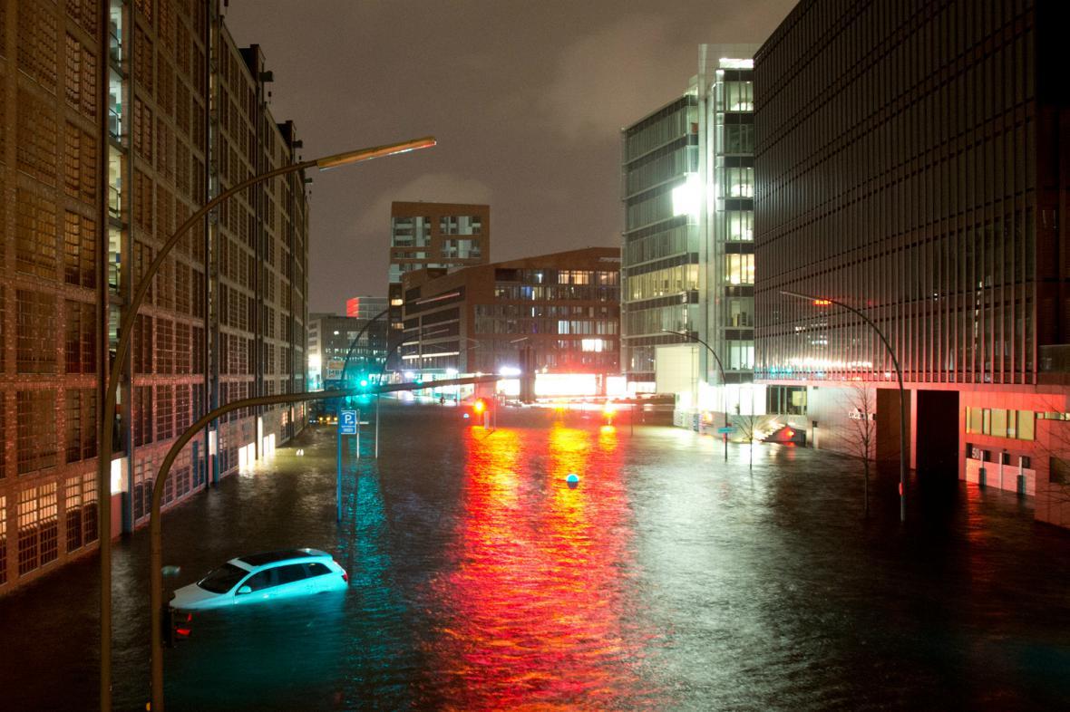 Zaplavené části Hamburku
