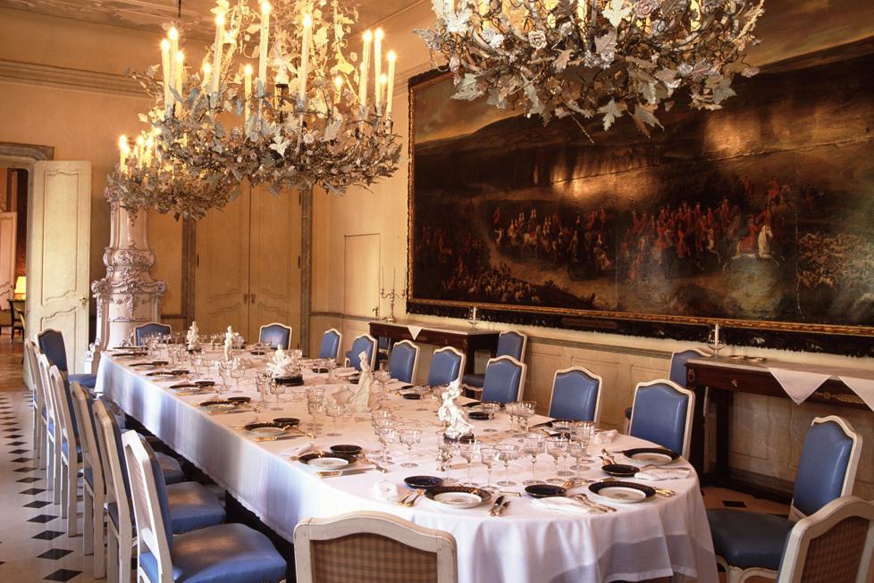 Jídelna v Buquoyském paláci, kde proběhla snídaně s Mitterrandem