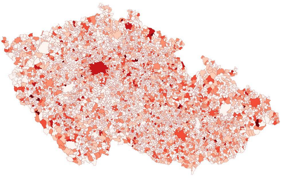 Mapa zadluženosti obcí