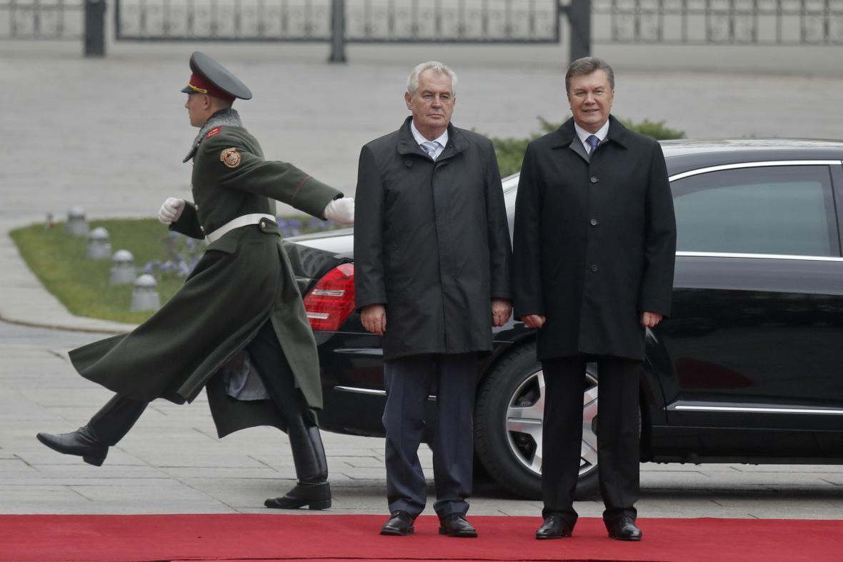 Miloš Zeman a Viktor Janukovyč v Kyjevě