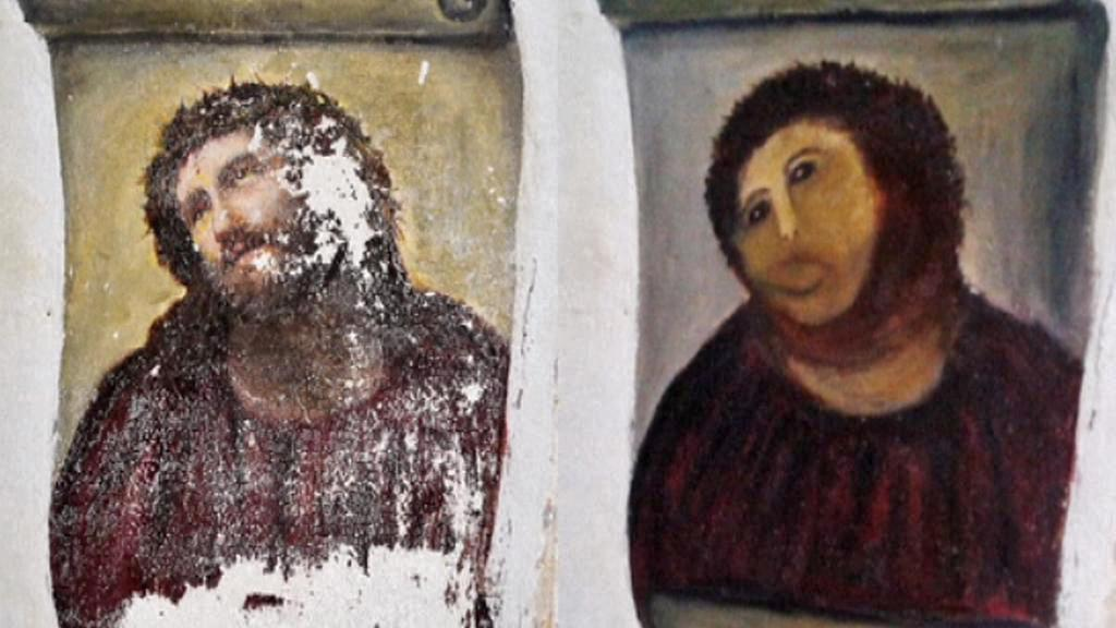 Obraz Ecce Homo před a po zásahu restaurátorky