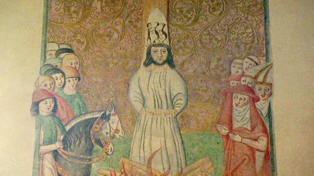 Takto Husův tragický osud zachycuje freska z 15. století
