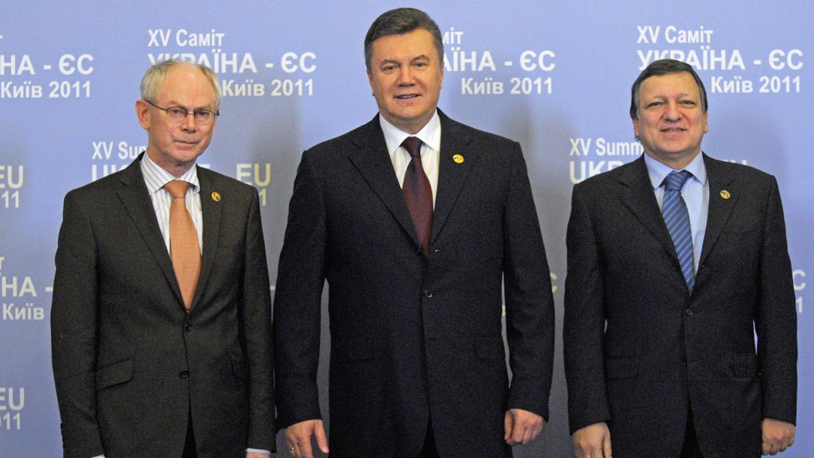 Herman Van Rompuy, Viktor Janukovyč a José Manuel Barroso