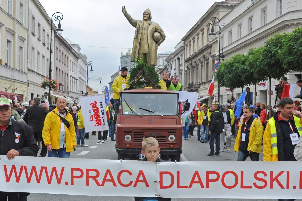 Polští odboráři protestovali proti Tuskově vládě