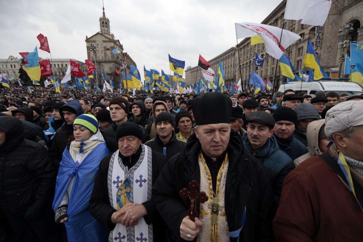 Masové protesty v Kyjevě