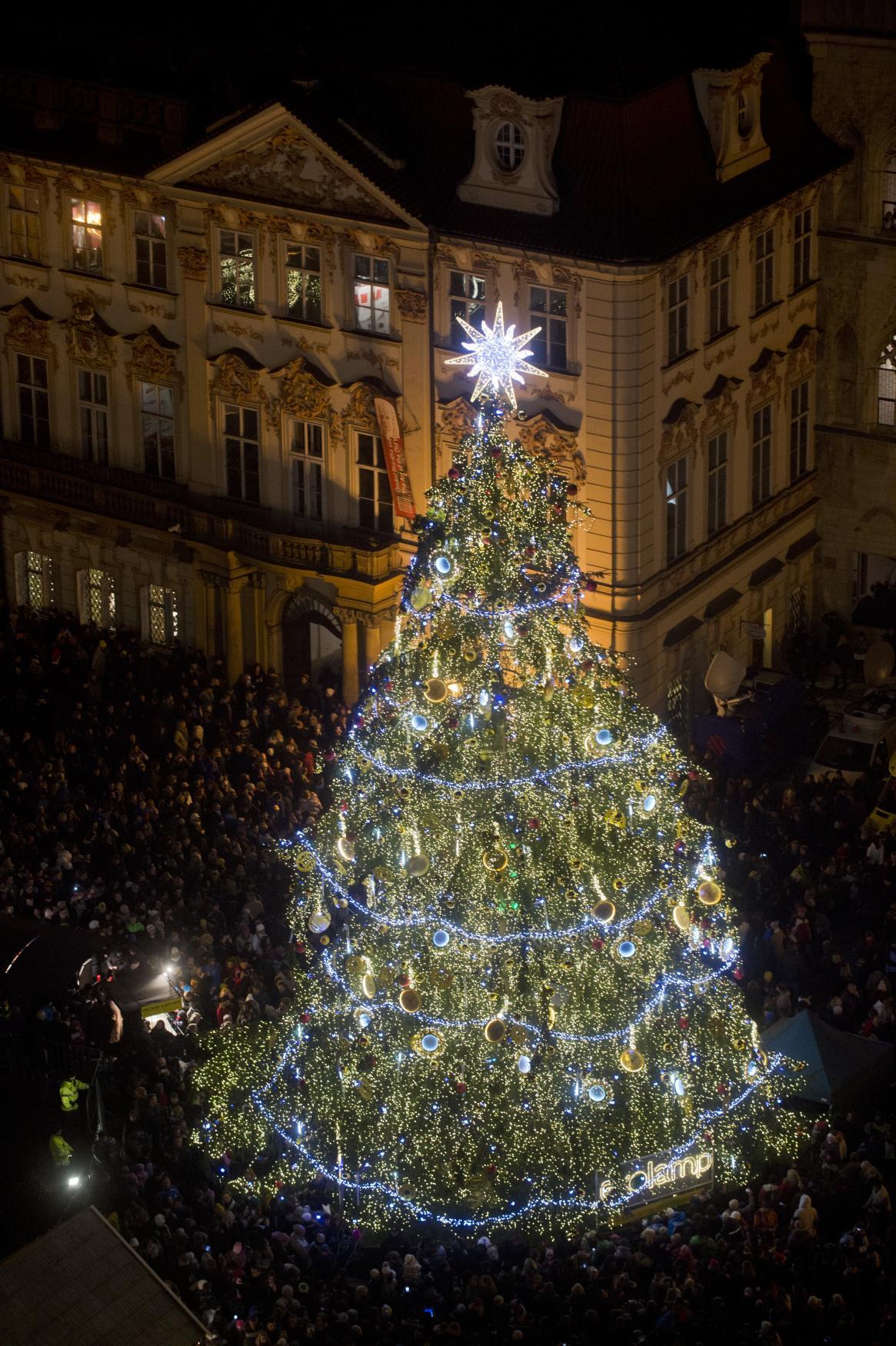 Nazdobený strom na Staroměstském náměstí